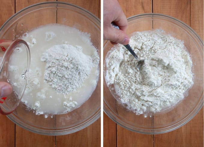 make the dough by combining the flour and water together in a bowl.