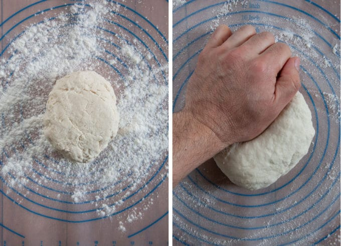 knead the dough on a clean surface dusted with flour.