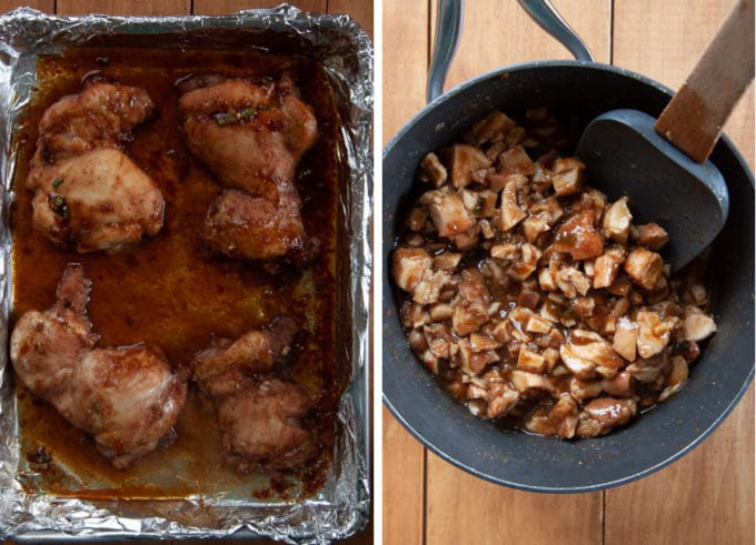 Once the thighs are done, chop and add to the cooked sauce along with any drippings in the pan.