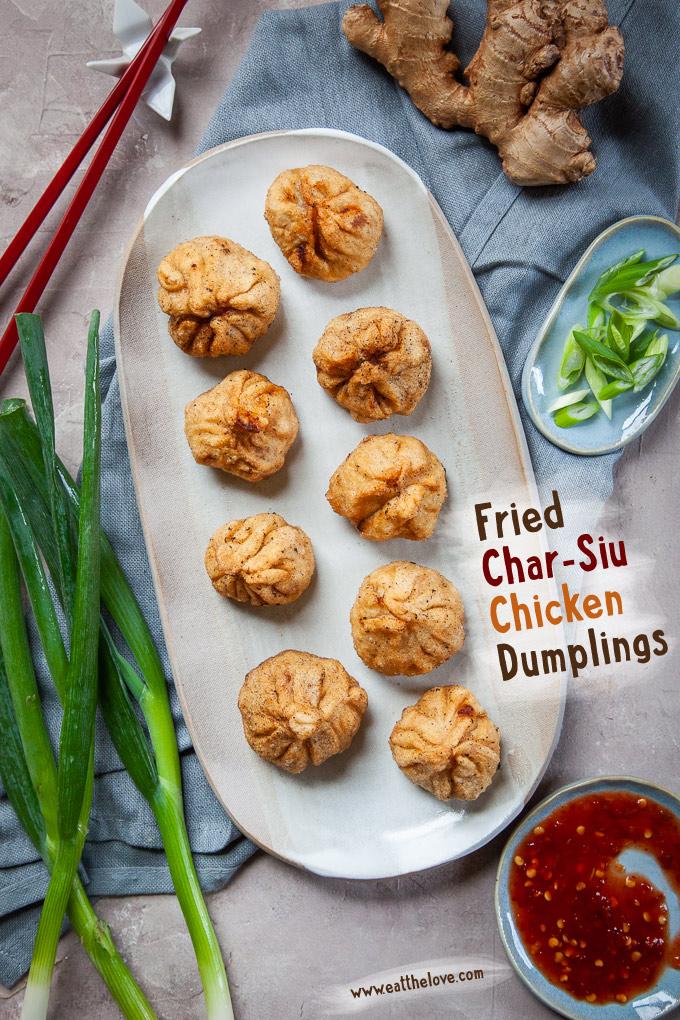 Fried Char Siu Chicken Dumplings (Chinese Barbecue Chicken Dumplings) are fun to make!