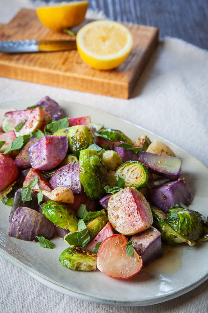 Roasted Radishes and Brussels Sprouts with Lemon Brown Butter