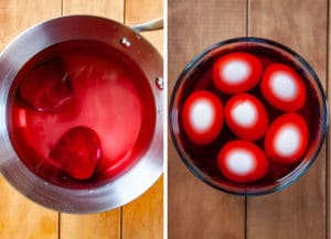 make the beet pickling juice then marinated the eggs in the juice for 8 hours up to 48 hours.