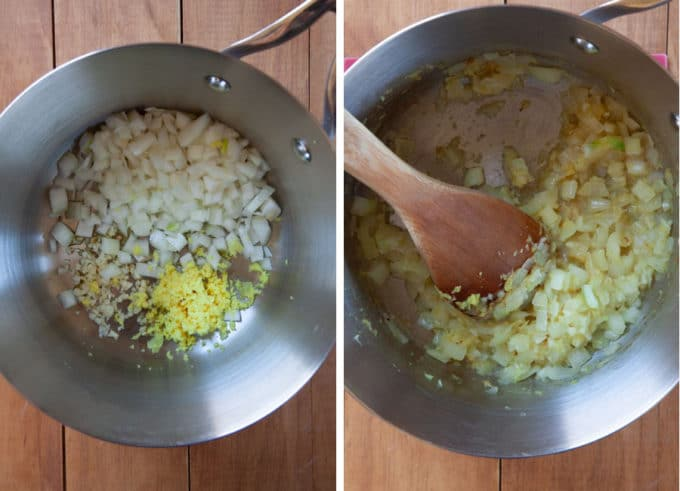 cook garlic, onion and ginger in pan with oil