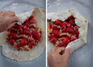 Fold the galette dough by folding down the sides, create pleats around the filling and leaving the center exposed.