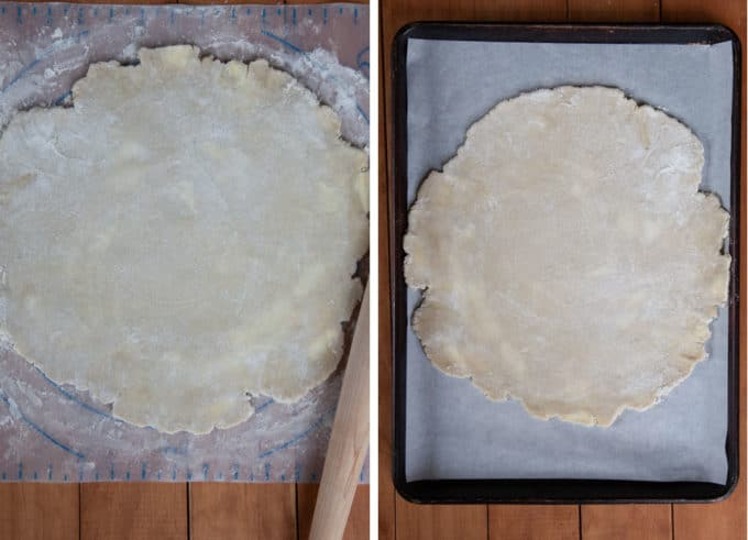 Roll out the pastry dough for the fruit galette and then slide it onto parchment paper and move it to a large rimmed baking sheet.