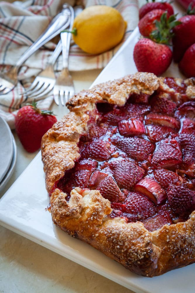 Strawberry Rhubarb Galette, the perfect easy springtime dessert.