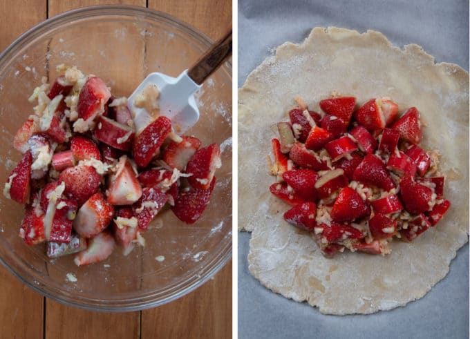 Combine the strawberry rhubarb tart filling in a bowl, then pour into the center of the rolled out galette dough.