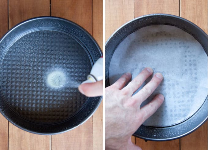 Spray the inside of an 8-inch springform pan. Line the bottom with a parchment paper.