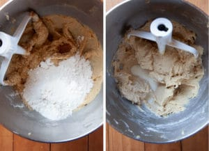 Add the flours and spices. Mix until dry ingredients are absorbed.