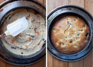 Spread the batter into the pan, then bake until a a toothpick inserted in the middle comes out clean.