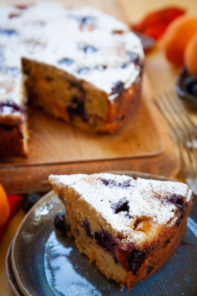 Apricot Cake with Blueberries.