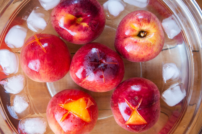 move the hot peaches to the cold water