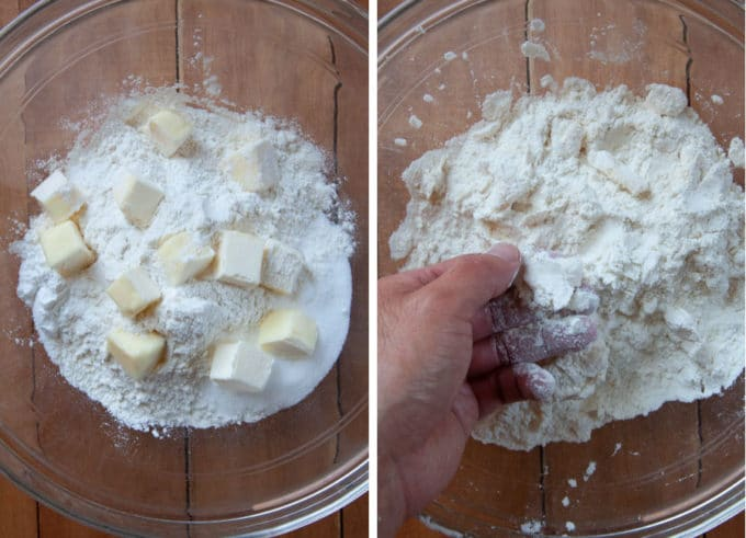 Place dry ingredients for biscuit in bowl, then smash butter into small bits with hand.