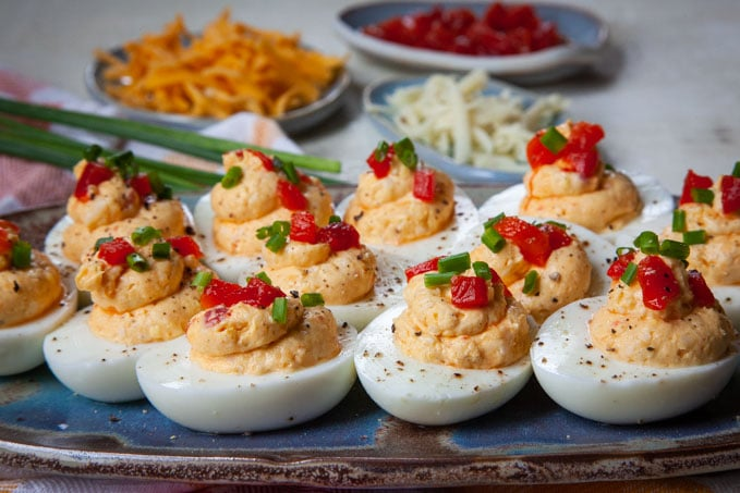 Deviled eggs with Pimiento Cheese