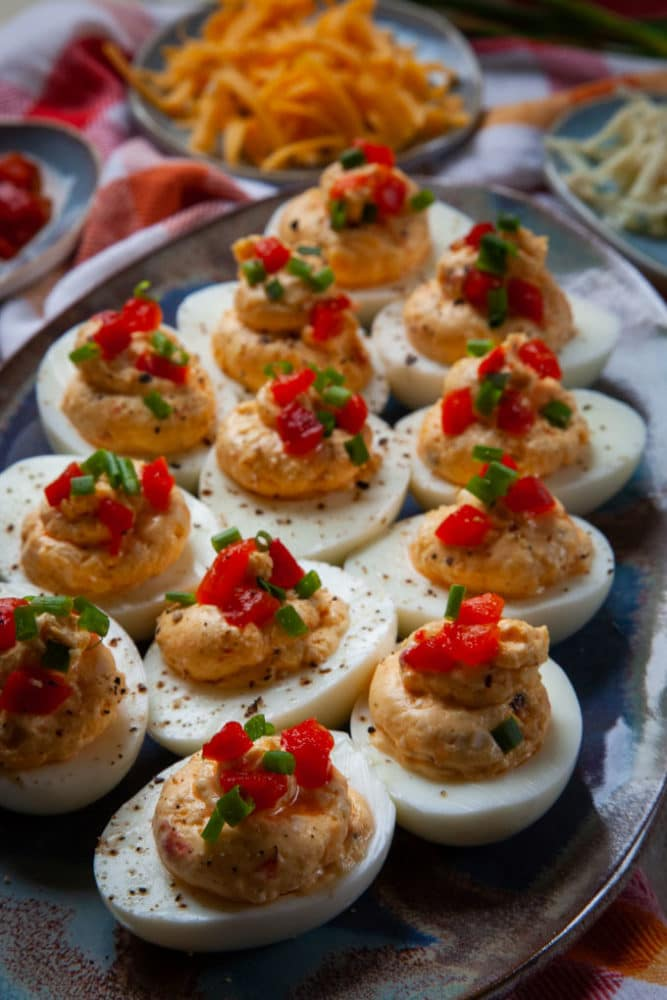 Pimento Cheese Filled Deviled Eggs
