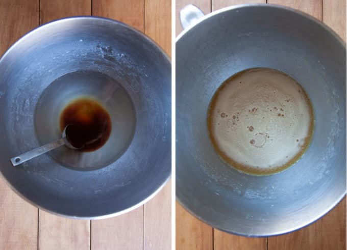 dissolve the malt syrup and yeast in water, then let sit for 5 minutes to bubble to proof the yeast.