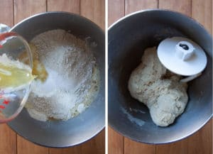 Add dry ingredients and melted butter then knead with dough hook for 5 minutes.