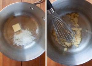 Melt the flour and butter together into a paste called a roux