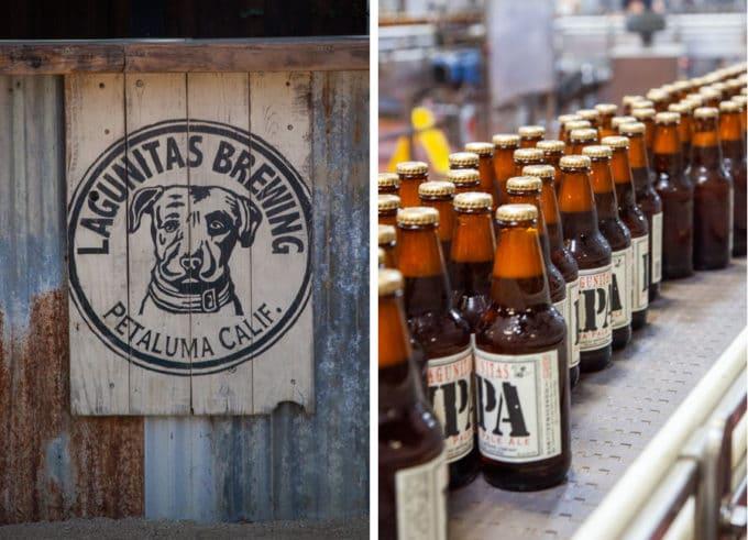 Lagunitas Brewing Company's Petaluma Cafe sign and IPA beers on a conveyor belt