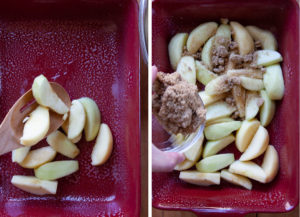 Spread half the apples into the pan, then cover with half the brown sugar.