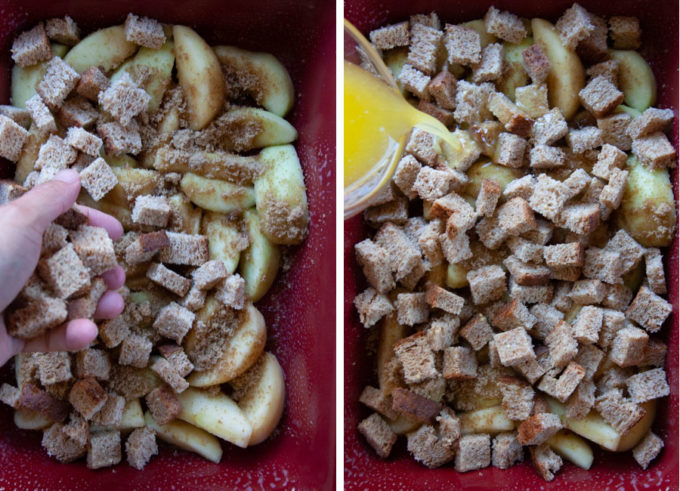 Add a half the bread cubes, then pour half the butter over the entire dessert.