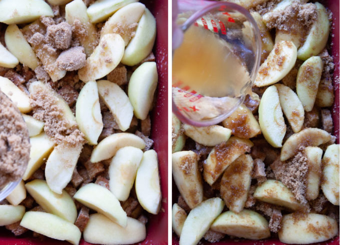 Add the remaining apples and sugar. Then drizzle the beer over the entire filling.