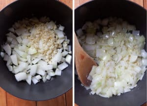 Cook the onions and garlic until they are just starting to soften.