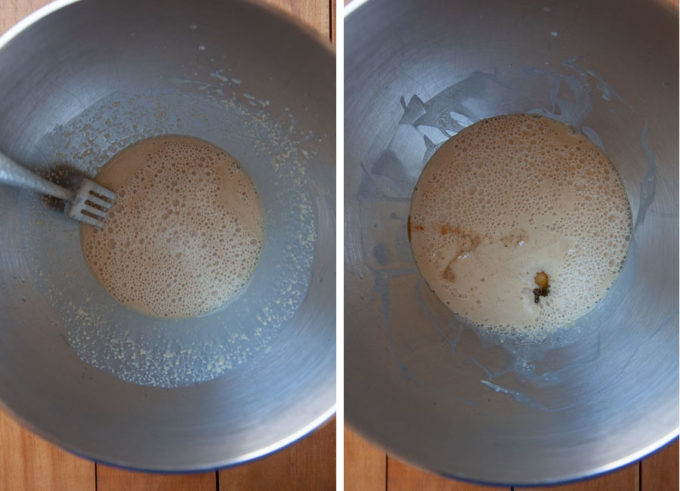 Proof the yeast then add the eggs and vanilla.
