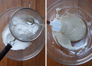 Make the glaze by sifting the powdered sugar and combining it with the remaining ingredients.