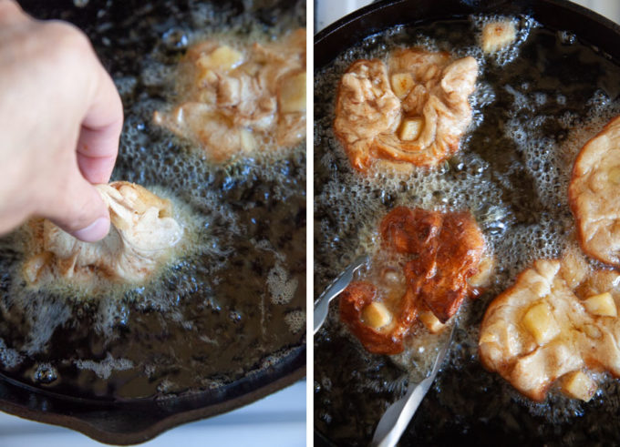 Heat oil then slide the fritters into the hot oil. Don't drop it. Then flip after one side is golden brown.