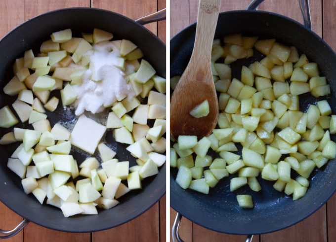 Cook chopped apples with butter and sugar until soft.