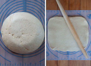 Roll risen dough into a rectangle.