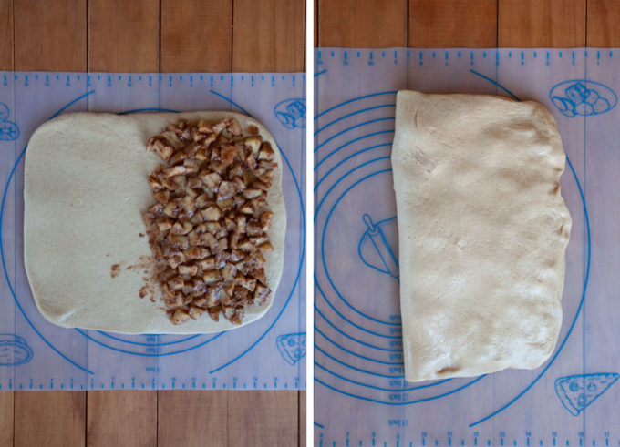 Spread apples over half the dough, then fold the dough over it.