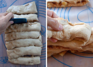 Cut dough into strips, then stack strips on top of each other.