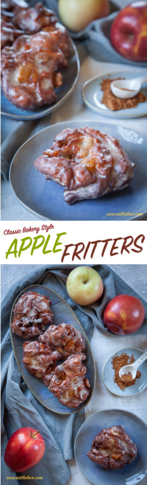 Homemade Apple Fritters just like you find at a bakery, sitting on a plate on the table!
