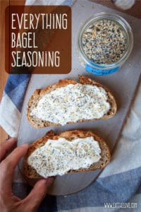 Homemade everything bagel seasoning mix sprinkled on cream cheese on toast