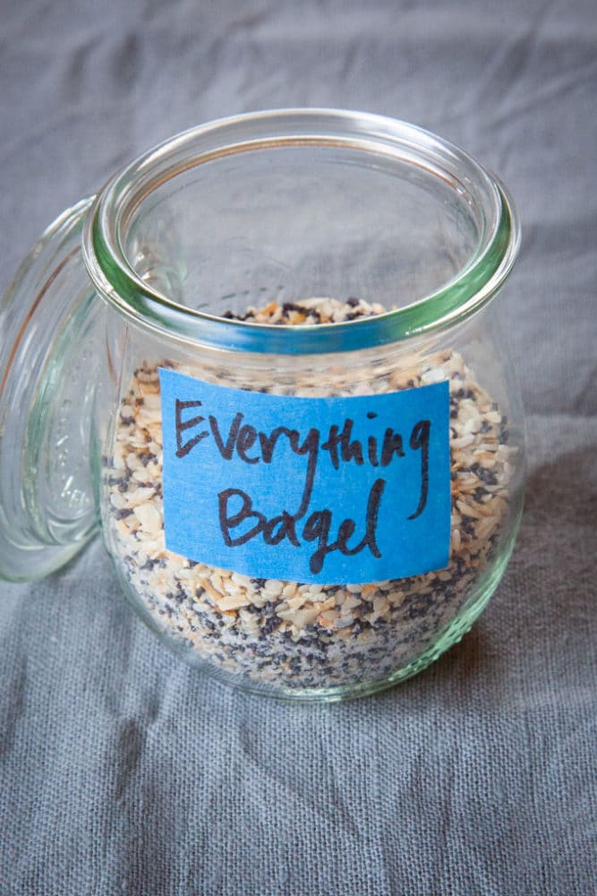 a jar of homemade everything but the bagel seasoning