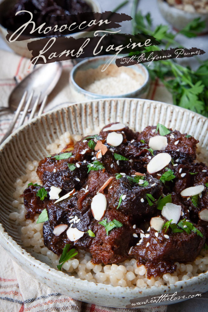 Moroccan lamb tagine with prunes in a ceramic bowl.
