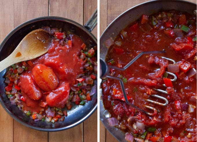 Add the tomatoes and then break them up with a wooden spoon or a potato masher.