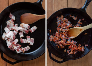 Cook the bacon in an oven proof skillet, preferably cast iron.