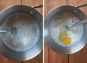 dissolve yeast in warm milk then add shortening, sugar, salt and egg.