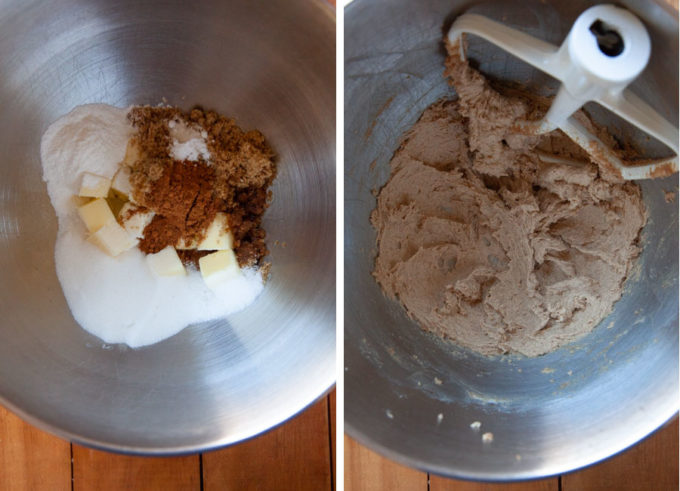 Place butter, sugar, vanilla, baking powder, salt, pumpkin spice, baking soda in the bowl of a stand mixer fitted with a paddle attachment. Mix until fluffy and light in color.