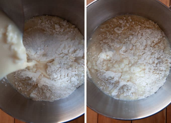 Pour warm milk liquid into bowl with flour.