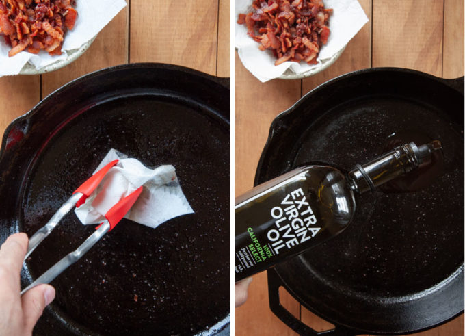 Remove bacon, wipe out pan, pour olive oil in.