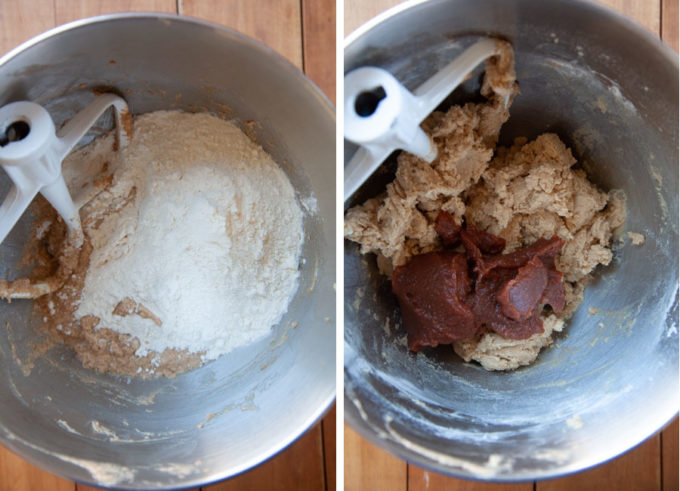 Add the flour, mix in, then add the apple butter and mix in.