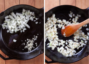 Cook the onions and garlic in the pan.
