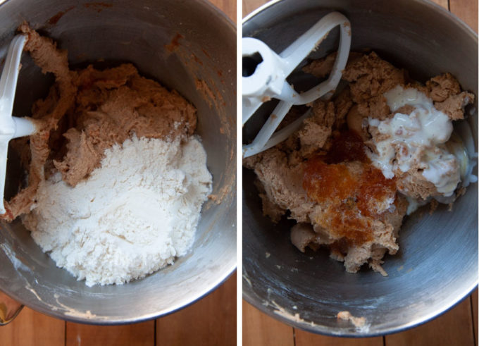 Mix in more flour then the apple juice concentrate and buttermilk.