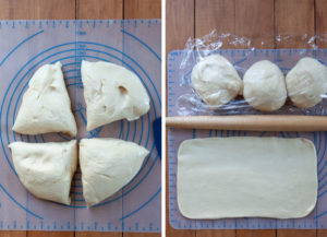 Divide dough into quarters. Roll out one part into a long rectangle.