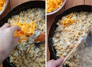 Remove pan from heat and fold in the shredded cheese.
