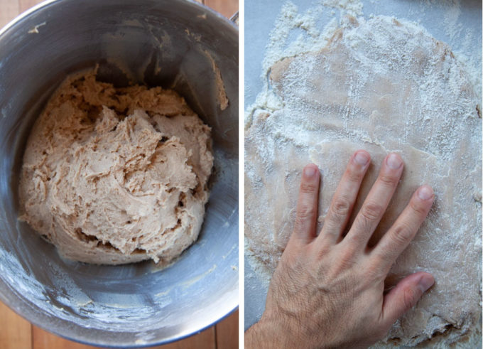 Pat the dough on a generously floured surface until 1/2-inch thick.